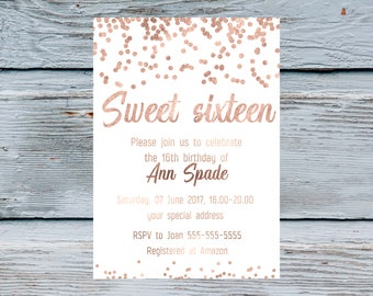 Sweet Fifteen Invitation Blush Pink and silver glitter Coral