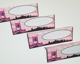 12 Pink Batman Food Tent Cards/Name Place Cards/Happy Birthday/Party Supplies
