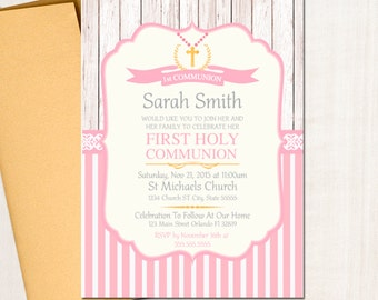 First Communion Invitation, Baptism Invitation, Pink and Gold Pastel Rustic || Any type of Event | Printed or Printable File Free Shipping