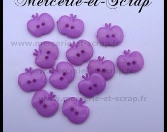 Set of 6 purple Apple buttons 15mm fruit plastic 2 hole