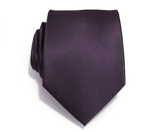 Mens Tie Grape Purple Silk Necktie With *FREE* Matching Pocket Square Set