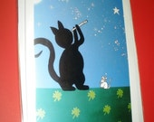 Lucky Cat Blank  Art Card, All Occasion, GIFTS, Stationery