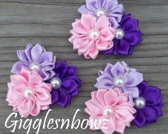 "Satin Ribbon Flowers- Pink, Lavender, Purple Pinwheel Flower Cluster- Headband Flowers- Diy Supplies- Fabric Flowers- Petite 2"" Flowers"