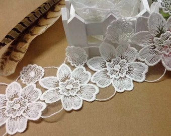Off White Lace Trim Flower Embroidery Lace Fabric Wedding Trim 3 inches width