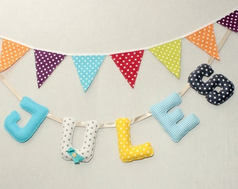 Fabric Letters,Personalized Kids, Baby Shower Boy, Baby Name Garland, Fabric  Banner, Bunting Letters,Name Letters Hanging, Name Art Nursery