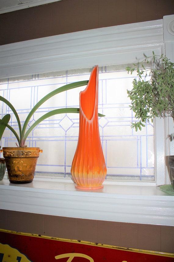 "Large Orange Glass Vase 24.5"" Vintage Mid Century Modern Swung Glass"