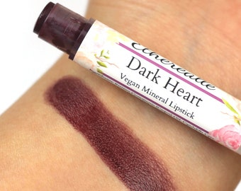 "Dark Wine Vegan Lipstick - ""Dark Heart"" (dark purple wine lipstick) natural lip tint, balm, lip colour"