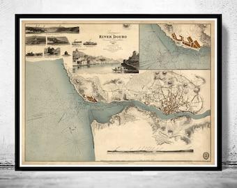 Beautiful Map Oporto Porto Portugal with gravures 1833 Douro River