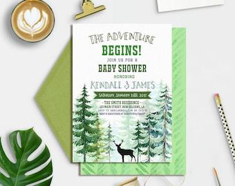 Adventure Awaits Baby Shower, Adventure Baby Shower Invitation, Baby Shower Winter Invitation,  The Adventure Begins Baby Shower
