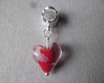 x 1 pendant/heart charm red glass eyeball charm 30 x 10 mm