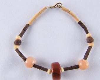 wood ,brass ,stone eco-friendly  bracelet  16 cms  636