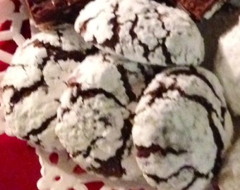 Chocolate Crinkles, Chocolate Lovers Comfort Cookie, Chewy Chocolate Crinkles, Holiday Cookies, Baked with Love, Mrs. C's Chocolate Crinkles