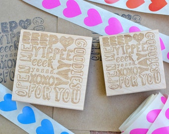 Happy Mail Stamp - Eeep - Eeek - Hooray - Goodies - Yay - Yippee - Rubber Stamp