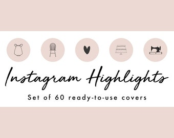 Instagram Story Highlight Icons - 60 Nude Pink Hand Drawn Covers | Fashion, Beauty, Lifestyle, Decor, Craft, Handmade, Bloggers, Influencers