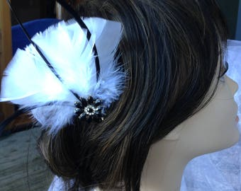 Feather Fascinator, Bridal Hair Comb, Feather Hair Comb, wedding fascinator
