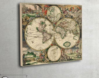 """Double hemispheres - Historical world maps (1689) - Ancient wold maps - Archival Fine Art print - large art print up to 42"""" x 50"""" - 023"""