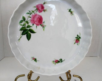 ON SALE Vintage Christineholm Fluted Rose Quiche/Tart Dish Stoneware Pie Plate