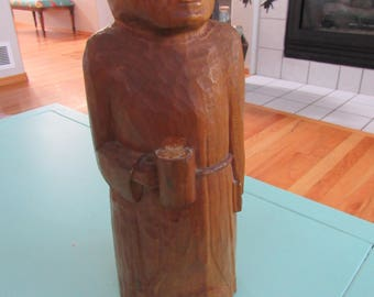 Vintage Hand Carved Wooden Monk 1958 Free Shipping