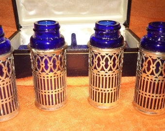 F.B. Rogers Cobalt Blue Glas Filligree Silverplated Shaker Bottles