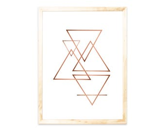 Posters, Rosegold, triangles, geometric, shapes