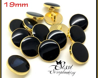 LOT 6 Gold flat black EPOXY resin buttons shirt baby coat jacket CREATION sewing 19mm