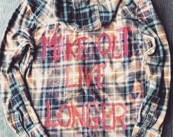 Upcycled grunge distressed graphic hooded Flannel boho festival style