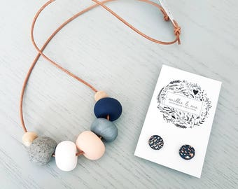 Polymer clay necklace and earring gift set, polymer clay necklace, Navy pink and silver clay bead necklace, necklace, beaded necklace,