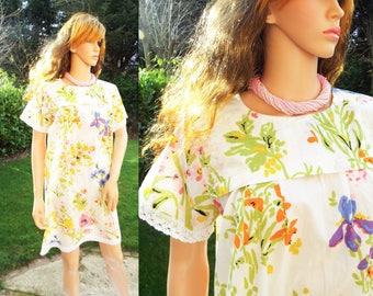 Unworn white Floral Indian cotton mini dress Boho dress Hippie dress Festival dress Sequin cotton smock dress White cotton lace dress