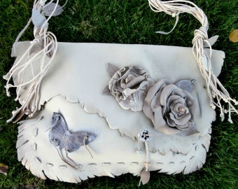 Leather Flower and Butterfly Crossbody  / Shoulder Purse