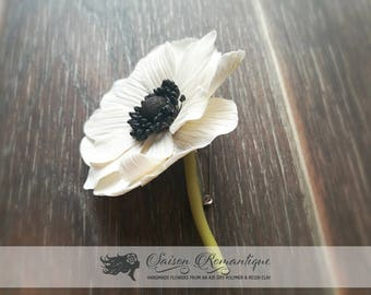 Boutonniere White Anemone - Polymer Clay Flowers - Wedding Accessories