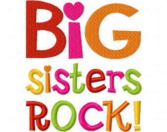 Big Sisters Rock Applique Machine Embroidery Design 4x4 and 5x7