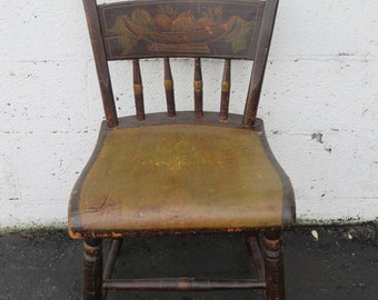 Early 1900s Hand Painted Hitchhiker Side Chair 9014