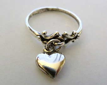 Heart -Charm- Ring-Sterling Silver
