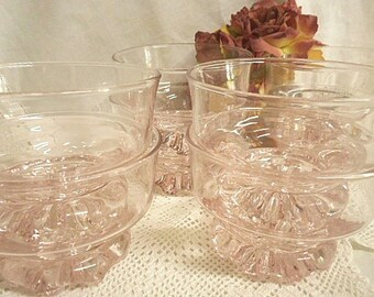 Vintage 70s Pink Glass Comport Bowls / Dishes ~ Set of Eight
