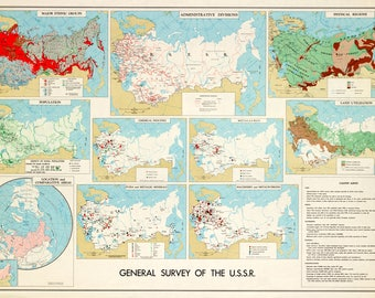 Antique ussr map etsy cia map of ussr central intelligence agency map 1961 gumiabroncs Image collections