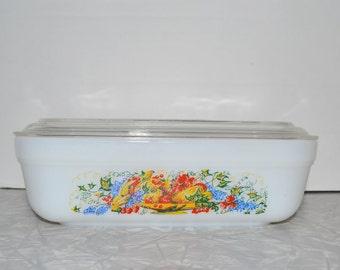Fire King Refrigerator Dish ~ Fruit Dish ~ Storage Container ~ Anchor Hocking ~ Epsteam