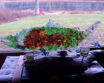 HUGE 29 in x 10 in Sea Glass Salmon on Driftwood Stand with Candles