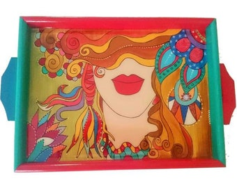 Kalasiddhiart Lovely Lady Hand Painted Serving Tray
