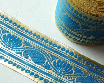 Extra wide Turquoise Blue and Gold sari trim - TWO yards of luxurious Indian sari border, 85mm blue and gold trim with lotus flower - 2 yds.