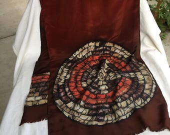 KasAga Scarf Hopi Coil Basket Handpainted Silk Native American Design on rich Burnt Brown