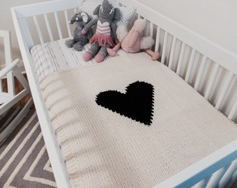 Knit Baby Blanket Cream With Black Heart for Bassinet or Stroller