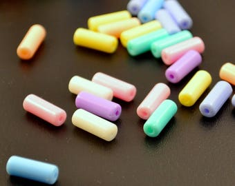 """50 """"pastel tube"""" beads size: 13 x 5 mm, multicolored"""