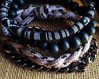 Men's set of 4 bracelets. Fast FREE shipping with holiday gift box and bow!