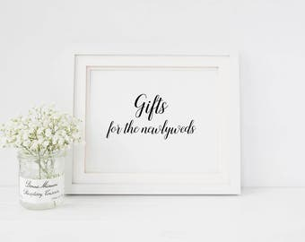 Wedding gift table sign | Sign for wedding gift table | Gifts for the newlyweds sign | Wedding reception table sign | Wedding gift sign S1