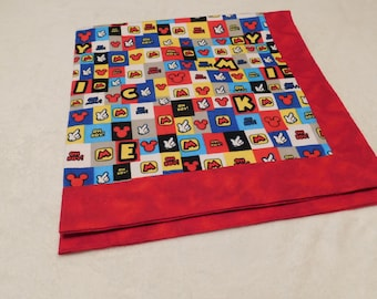 Baby, Receiving, Infant, Lap or Pet Blanket /Quilt  made from Mickey Mouse flannel fabric and red backing and trim