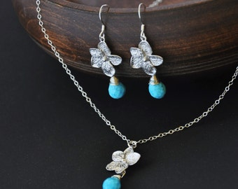 LAST ONE- Silver Plumeria Jewelry Set with Turquoise Gemstones - Plumeria Necklace and Plumeria Earrings, Hawaii Jewelry, Hawaii Wedding