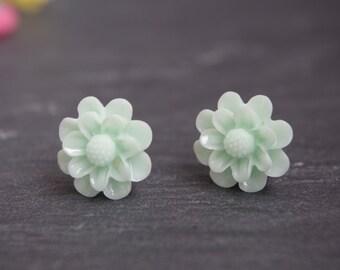 Green Flower Earrings  Stud Earrings  Flower Earrings Green Flower Post Flower Girl Earrings Green Flower Studs  Shabby Chic Christmas Gift