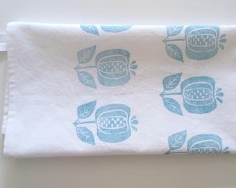 Hand Printed Tea Towel, Organic Cotton