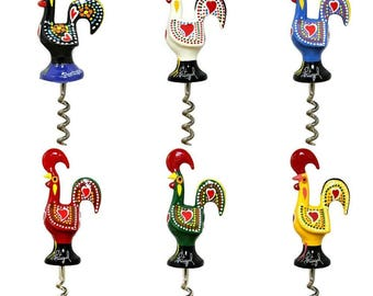 Traditional Portuguese Aluminum Rooster Figurine Corkscrew Wine Bottle Opener - 6 Colors Available
