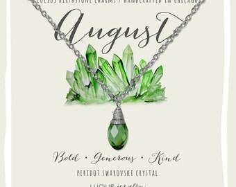 August Birthstone - August Birthstone Necklace - August Jewelry - Birthstone Necklace - Birthstone Jewelry - Swarovski Necklace